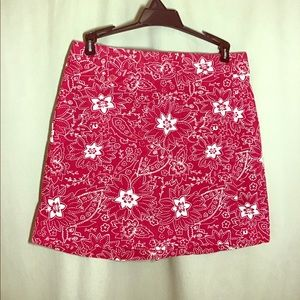 Sonoma Red & White 6P Culottes Skort Golf Skirt